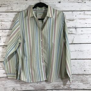 Orvis Striped Button Up Green Long Sleeve Top